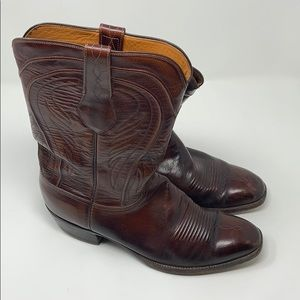 Men's Lucchese Brown Leather Cowboy Boots 11.5